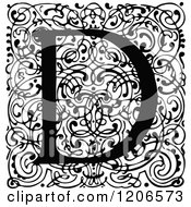Clipart Of A Vintage Black And White Monogram D Letter Over Swirls Royalty Free Vector Illustration
