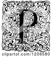 Clipart Of A Vintage Black And White Monogram P Letter Over Swirls Royalty Free Vector Illustration