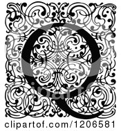Clipart Of A Vintage Black And White Monogram Q Letter Over Swirls Royalty Free Vector Illustration