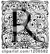 Clipart Of A Vintage Black And White Monogram R Letter Over Swirls Royalty Free Vector Illustration
