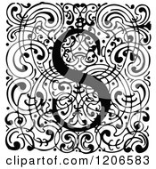 Clipart Of A Vintage Black And White Monogram S Letter Over Swirls Royalty Free Vector Illustration