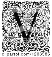 Clipart Of A Vintage Black And White Monogram V Letter Over Swirls Royalty Free Vector Illustration