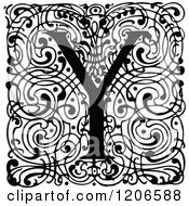 Clipart Of A Vintage Black And White Monogram Y Letter Over Swirls Royalty Free Vector Illustration