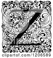 Clipart Of A Vintage Black And White Monogram Z Letter Over Swirls Royalty Free Vector Illustration