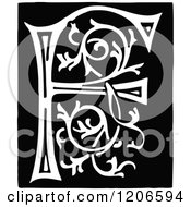 Clipart Of A Vintage Black And White Monogram Letter F Royalty Free Vector Illustration