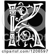 Clipart Of A Vintage Black And White Monogram Letter K Royalty Free Vector Illustration