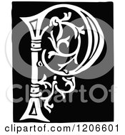 Clipart Of A Vintage Black And White Monogram Letter P Royalty Free Vector Illustration