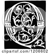 Clipart Of A Vintage Black And White Monogram Letter Q Royalty Free Vector Illustration