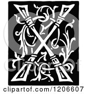 Clipart Of A Vintage Black And White Monogram Letter X Royalty Free Vector Illustration