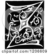Clipart Of A Vintage Black And White Monogram Letter Z Royalty Free Vector Illustration