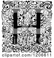 Clipart Of A Vintage Black And White Monogram H Letter Over Swirls Royalty Free Vector Illustration