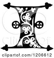 Clipart Of A Vintage Black And White Monogram I Letter Royalty Free Vector Illustration