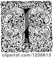 Clipart Of A Vintage Black And White Monogram I Letter Over Swirls Royalty Free Vector Illustration
