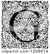 Clipart Of A Vintage Black And White Monogram G Letter Over Swirls Royalty Free Vector Illustration
