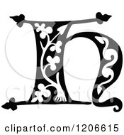 Clipart Of A Vintage Black And White Monogram H Letter Royalty Free Vector Illustration