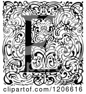 Clipart Of A Vintage Black And White Monogram E Letter Over Swirls Royalty Free Vector Illustration