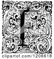 Clipart Of A Vintage Black And White Monogram F Letter Over Swirls Royalty Free Vector Illustration
