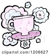 Cartoon Of A Teacup And Saucer Royalty Free Vector Illustration