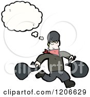 Cartoon Of A Criminal Thinking Royalty Free Vector Illustration