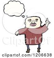 Cartoon Of A Bald Man Thinking Royalty Free Vector Illustration