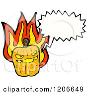 Cartoon Of A Speaking Flaming Jack O Lantern Royalty Free Vector Illustration by lineartestpilot