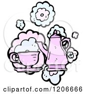 Cartoon Of A Tea Set Royalty Free Vector Illustration by lineartestpilot