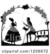 Clipart Of A Vintage Black And White Couple Talking By A Bench Royalty Free Vector Illustration by Prawny Vintage