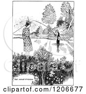 Clipart Of A Vintage Black And White Couple Fishing On A Honeymoon Royalty Free Vector Illustration by Prawny Vintage