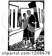 Clipart Of A Vintage Black And White Couple Strolling In A City Royalty Free Vector Illustration