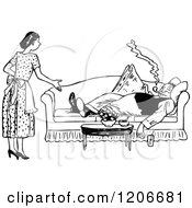 Clipart Of A Vintage Black And White Lazy Husband And Nagging Wife Royalty Free Vector Illustration