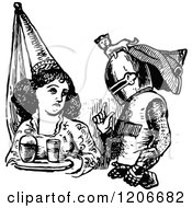 Clipart Of A Vintage Black And White Maiden And Knight Royalty Free Vector Illustration by Prawny Vintage