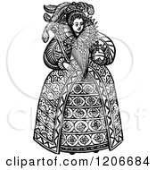 Clipart Of Vintage Black And White Queen Elizabeth The First Royalty Free Vector Illustration