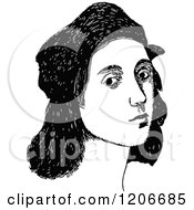 Clipart Of A Vintage Black And White Portrait Of Raphael Royalty Free Vector Illustration