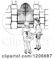 Vintage Black And White Boy And Girl At A Gate