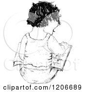 Vintage Black And White Child Reading