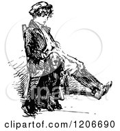Clipart Of A Vintage Black And White Boy And Dog Sitting Royalty Free Vector Illustration