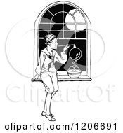 Vintage Black And White Boy Blowing Bubbles By A Window