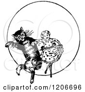 Clipart Of A Vintage Black And White Girl Dancing With A Cat Royalty Free Vector Illustration