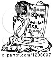 Clipart Of A Vintage Black And White Girl Reading Royalty Free Vector Illustration