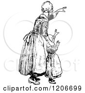 Clipart Of A Vintage Black And White Mother And Daughter Waving Goodbye Royalty Free Vector Illustration