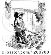 Vintage Black And White Grumpy Gardening Boy