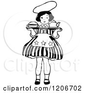 Clipart Of A Vintage Black And White Little Girl Carrying A Tray Royalty Free Vector Illustration by Prawny Vintage