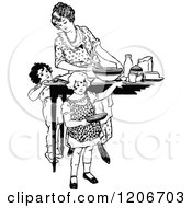 Clipart Of A Vintage Black And White Mother Cooking With Her Children Royalty Free Vector Illustration by Prawny Vintage