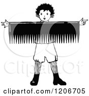 Clipart Of A Vintage Black And White Boy Holding A Giant Comb Sign Royalty Free Vector Illustration