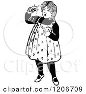 Clipart Of A Vintage Black And White Girl Admiring A Ring Royalty Free Vector Illustration by Prawny Vintage
