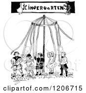 Vintage Black And White Kindergarten May Pole