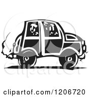 Clipart Of A Person Looking Out Through A Car Window Black And White Woodcut Royalty Free Vector Illustration by xunantunich