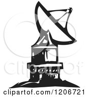 Clipart Of A Satellite Dish Black And White Woodcut Royalty Free Vector Illustration