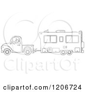 Outlined Man Driving A Pickup Truck And Hauling A Camper Trailer