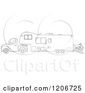 Cartoon Of An Outlined Man Driving A Pickup Truck And Hauling A Camper Fifth Wheel Trailer With An ATV Royalty Free Vector Clipart